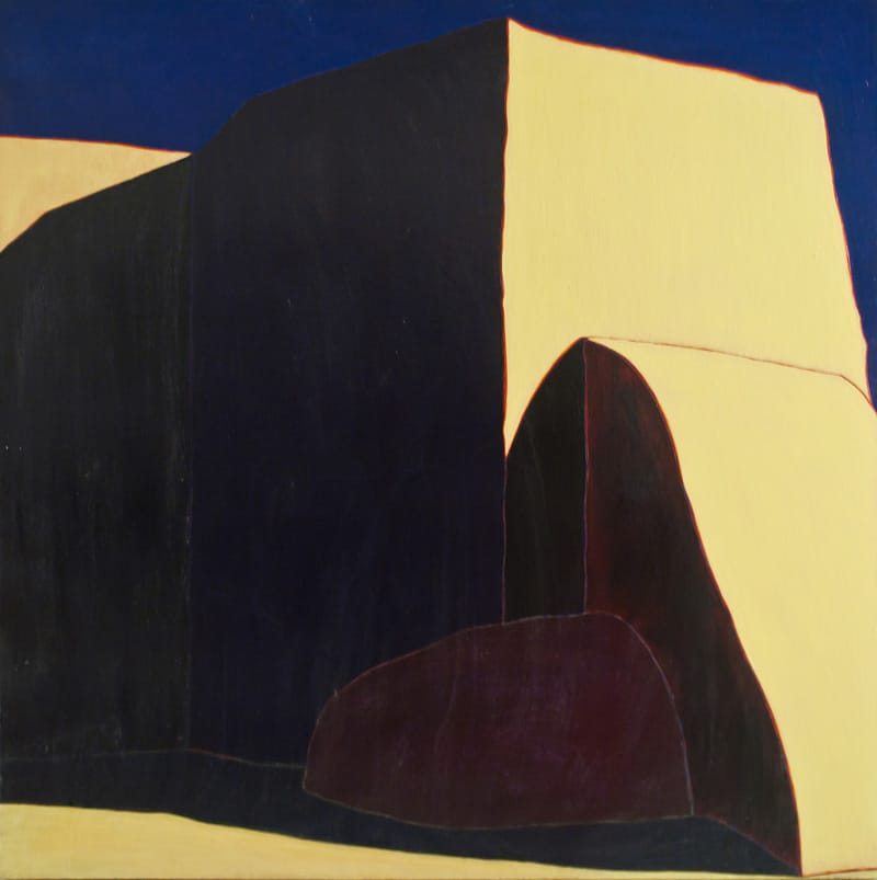 "Harold Joe Waldrum Primrose Light, 72"" x 72"" acrylic on canvas painting of the Ranchos de Taos church"