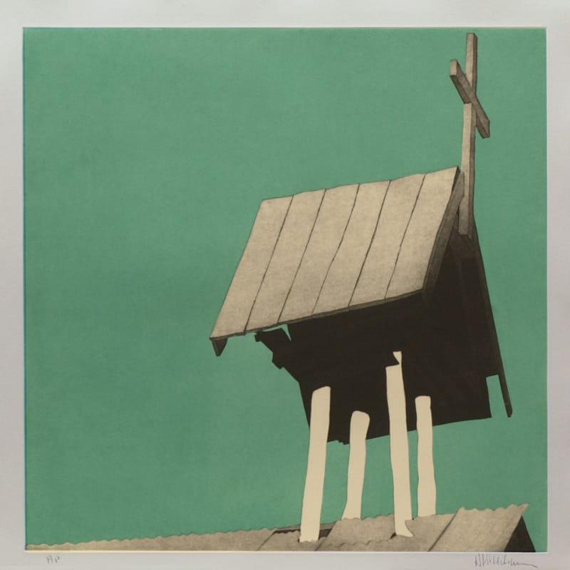 """El campanario arriba de la morada de Chacón - 24 x 24"""" aquatint etching by Harold Joe Waldrum"""