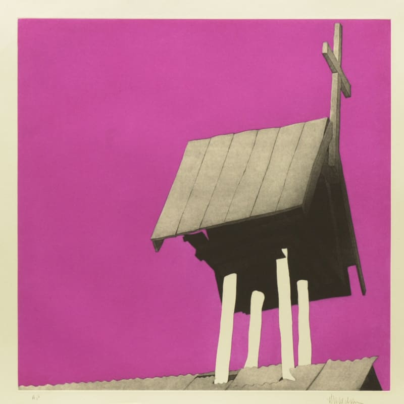 "El campanario arriba de la morada de Chacón - 24 x 24"" aquatint etching by Harold Joe Waldrum"