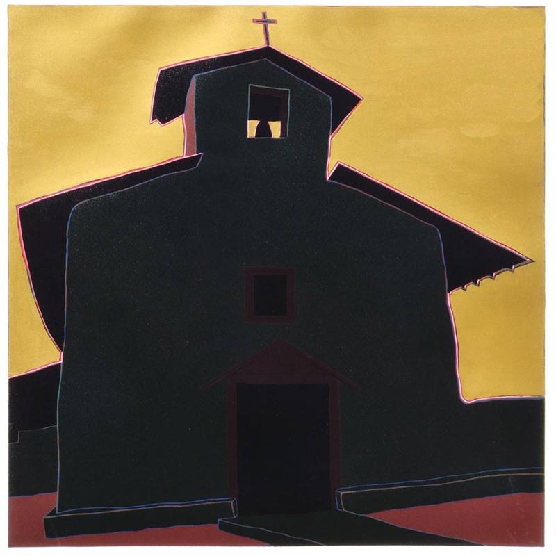 """Ocaso del sol en estío, (image) 24x24"""" linocut on paper, 1986-87 - by Harold Joe Waldrum"""