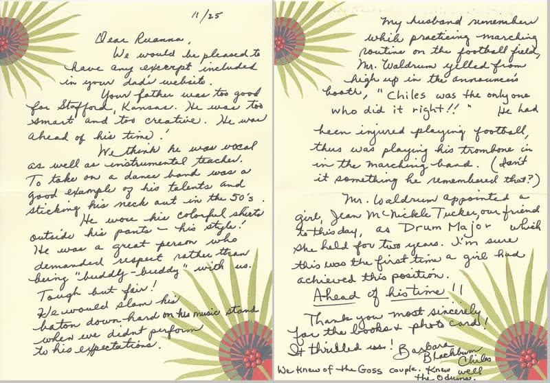 letter from Barbara & Dennis Chiles