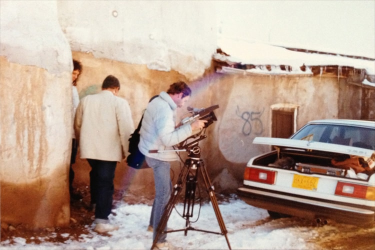 Harold Joe Waldrum and James T. Heesse on a video shoot at the Picuris Pueblo