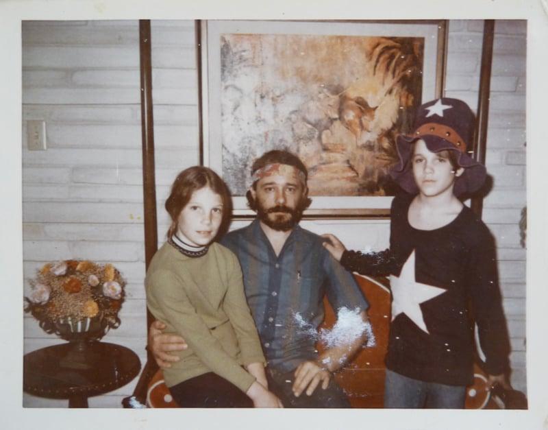 Harold Waldrum with his kids at the Ella Mae Lapham residence, San Antonio TX