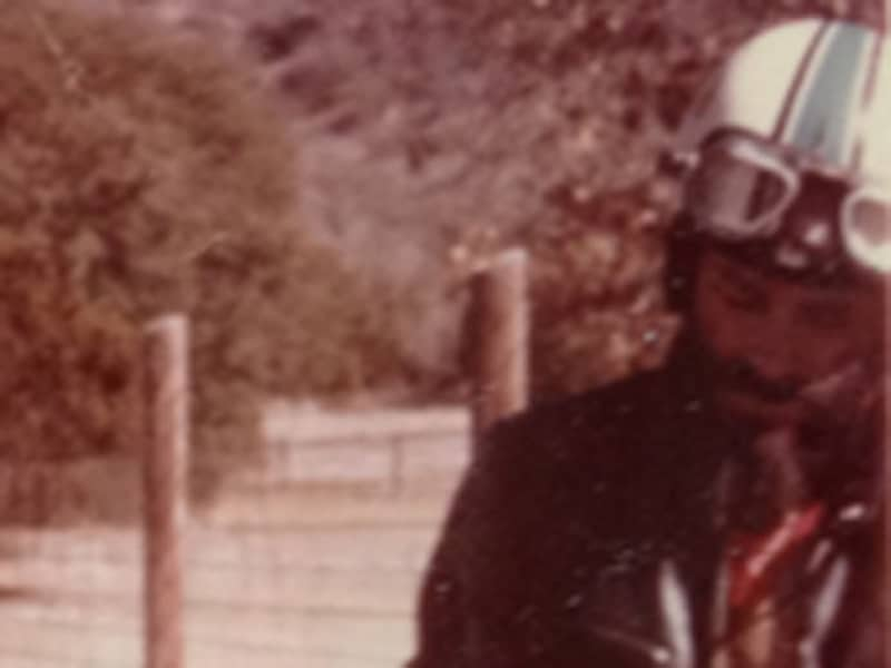 Harold Joe with his dad and his Ducati motorcycle
