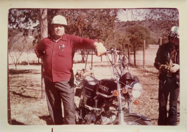 Mib Waldrum with Harold Joe's Ducati