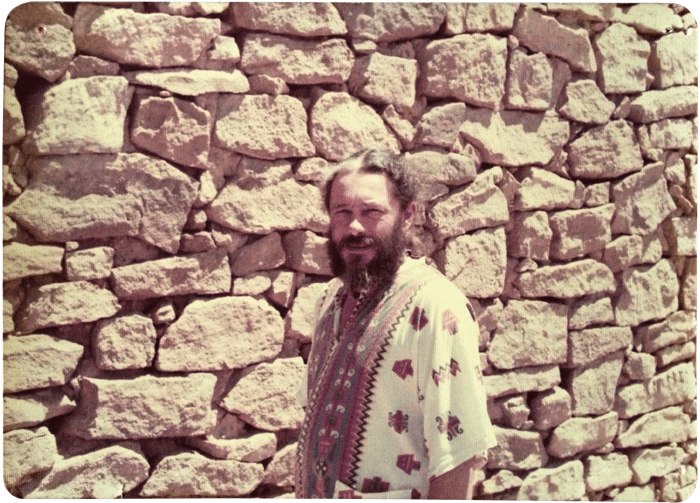 Harold Waldrum at his San Ysidro Sur property, late 1970s