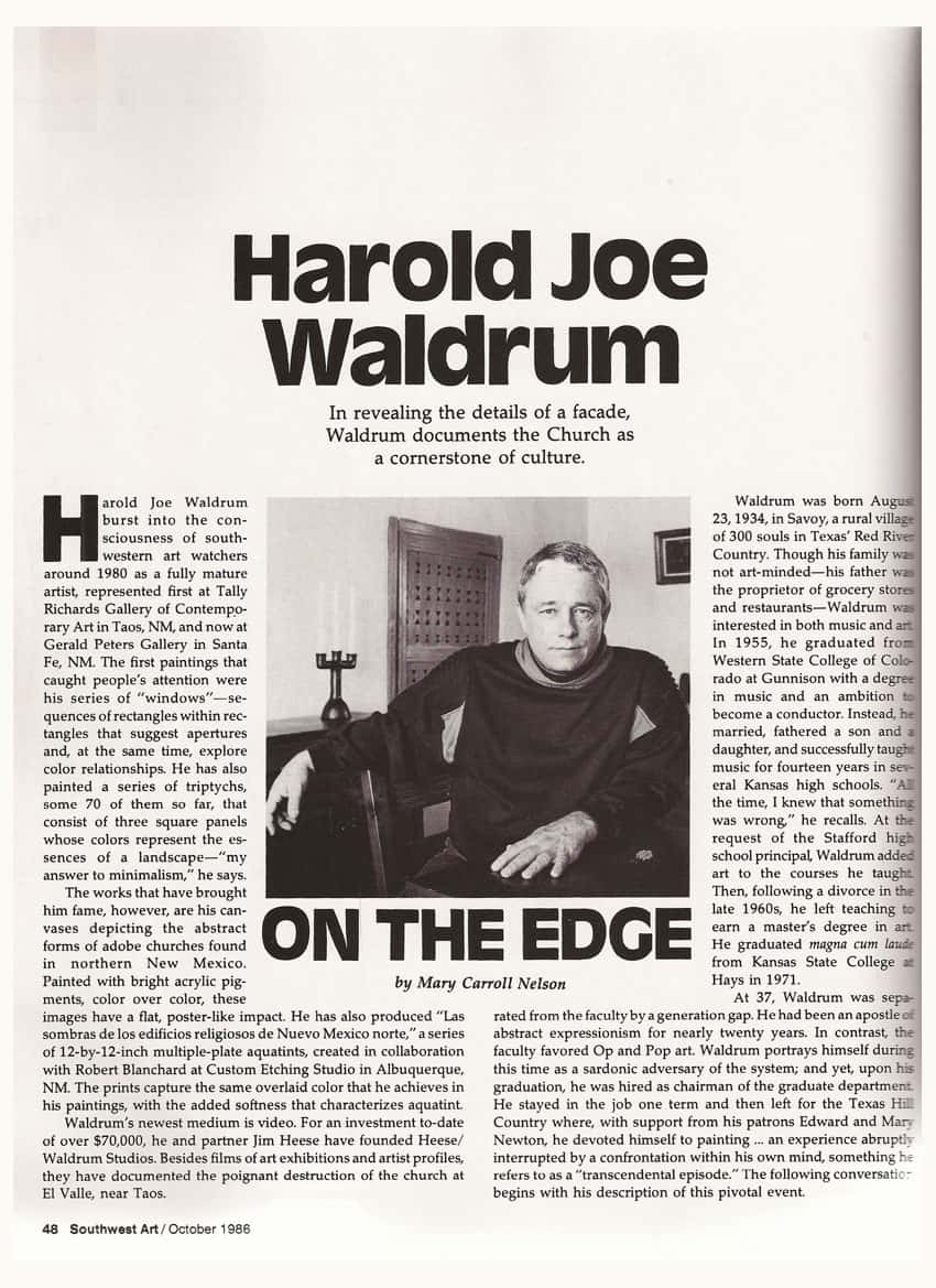 Southwest Art - 1985 article on Harold Joe Waldrum