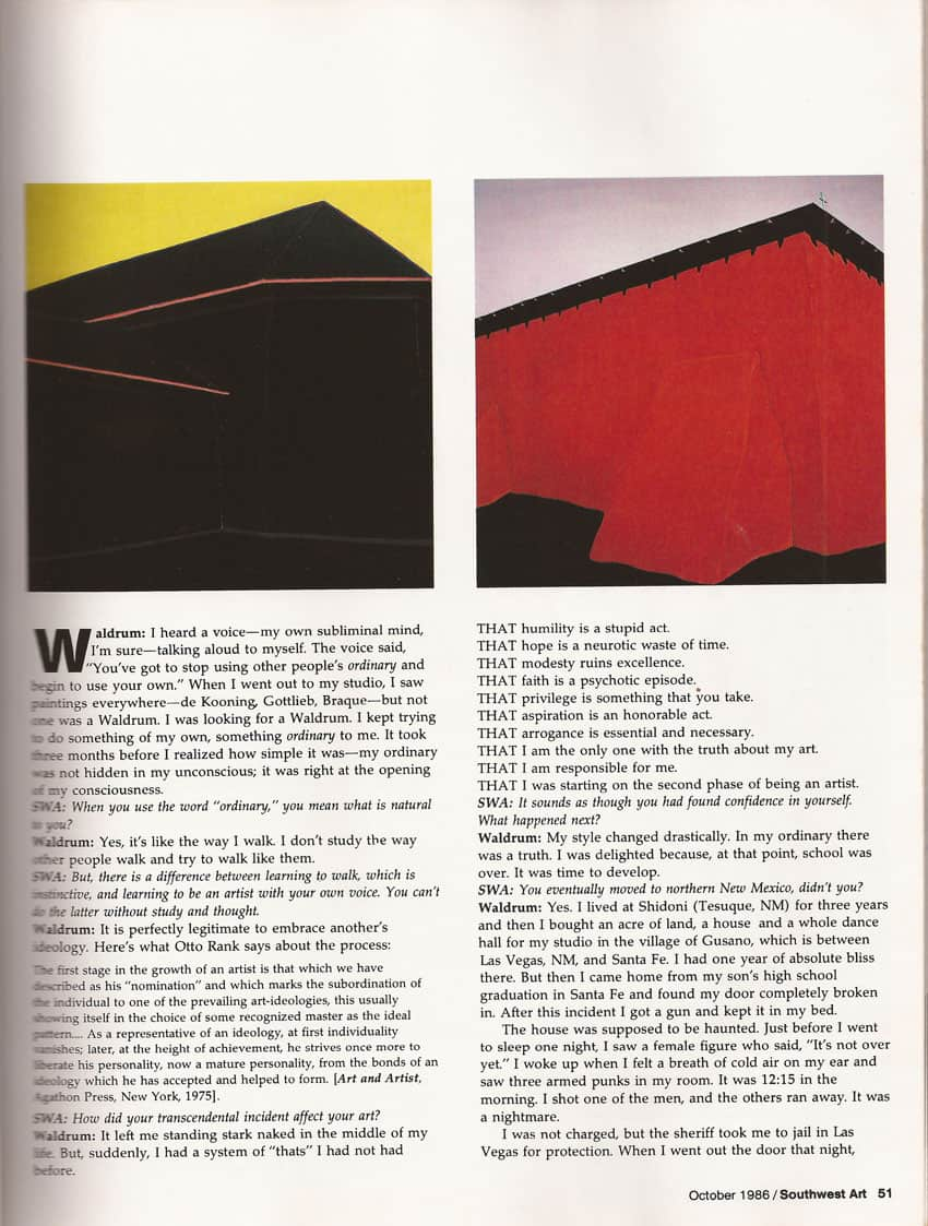 Southwest Art - 1985 article on Harold Joe Waldrum, page 4