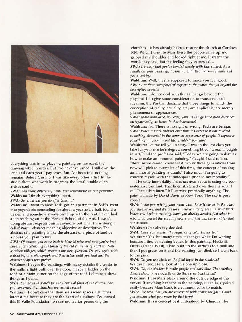 Southwest Art - 1985 article on Harold Joe Waldrum, page 5