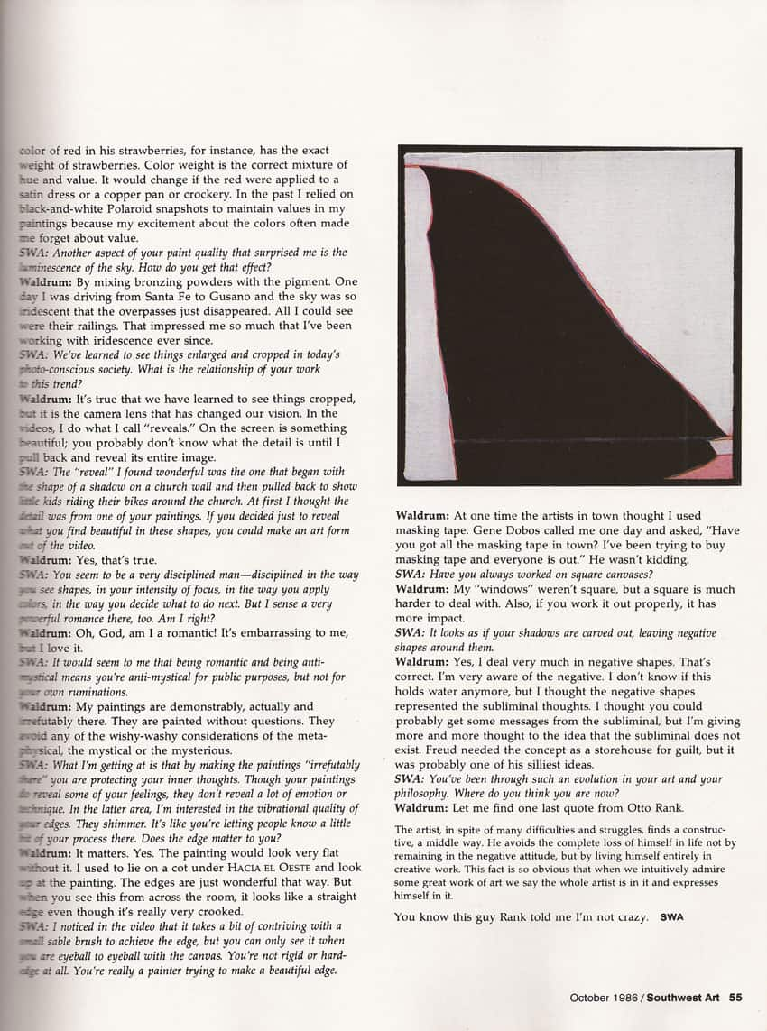 Southwest Art - 1985 article on Harold Joe Waldrum, page 8