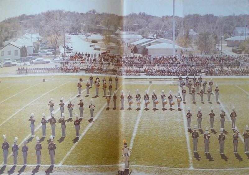 Lakin High School Marching Band on the LHS Football Field circa 1968