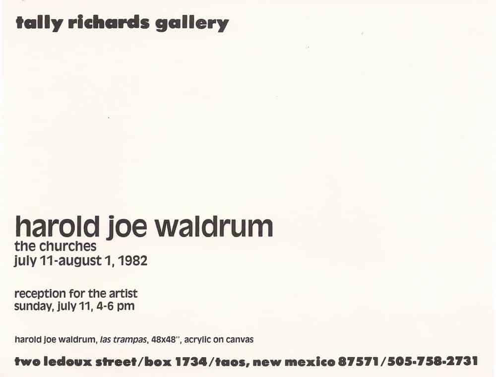 Harold Joe Waldrum - The Churches - at Tally Richards Gallery in Taos, 1982