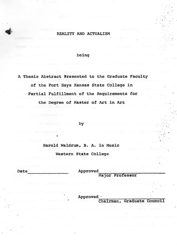 Harold Joe Waldrum Masters Thesis 1970s