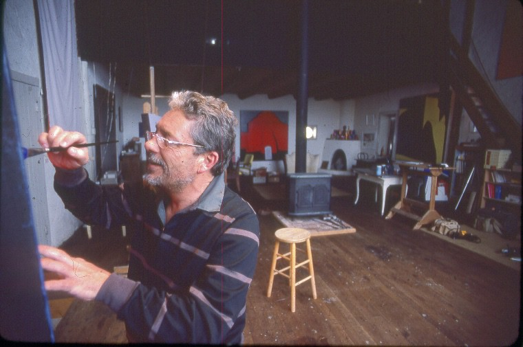 Harold Joe Waldrum painting in the Joseph Sharp studio in Taos New Mexico in the 1980s