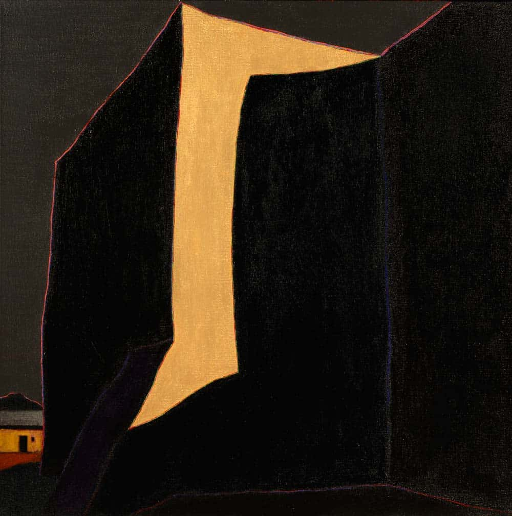"La morada atrás de la iglesia de Santo Tomás de Gracia de Las Trampas, 45x45"" acrylic on linen, 2000 - from the church painting series by Harold Joe Waldrum"