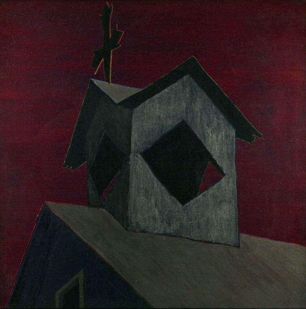 "Sábado de Gloria de Cundiyó Tin, 46x46"" acrylic on linen, undated  - from the church painting series by Harold Joe Waldrum"