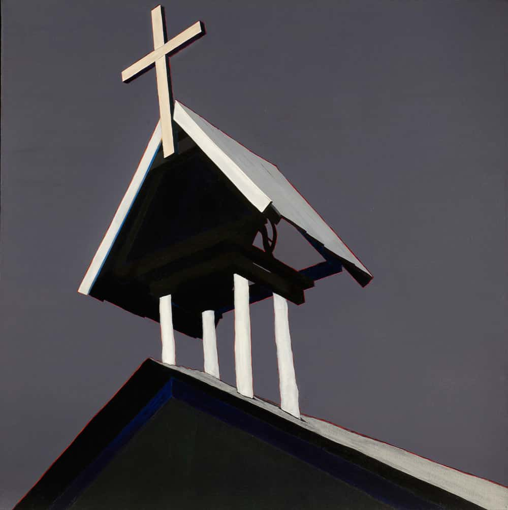"El campanario arriba de la morada de Jesús de Nazareno de Chacón, 54x54"" acrylic on linen, 1984 - from the church painting series by Harold Joe Waldrum"