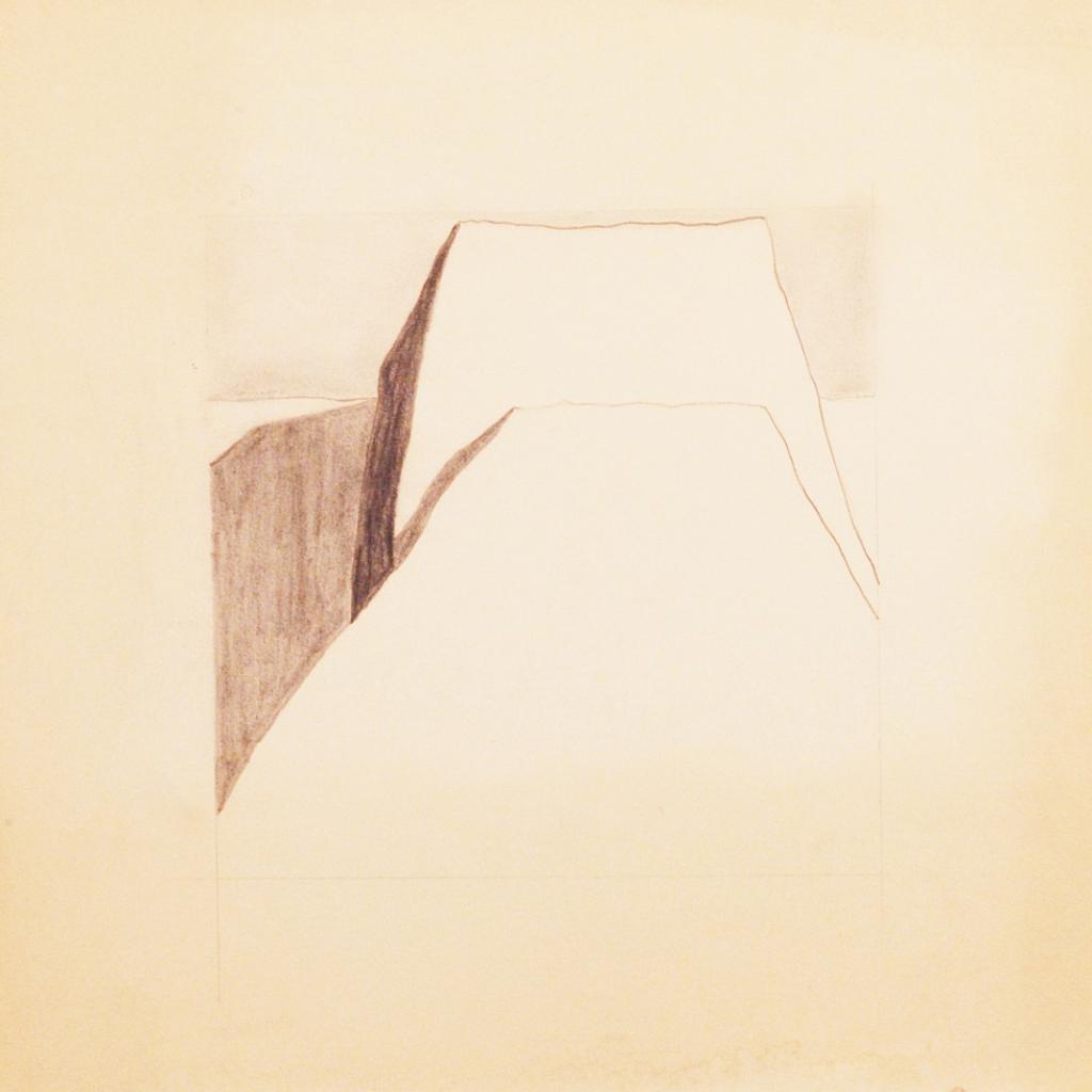 """Study for """"El contrafuerte grande de la iglesia de Ranchos de Taos"""" (linocut) - Ranchos de Taos, (image approx.) 12x12"""" graphite on paper - preparatory drawing by Harold Joe Waldrum"""