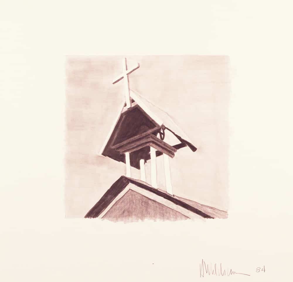 "Harold Joe Waldrum - graphite on paper - study for ""el campanario at Chacon"" aquatint etching"