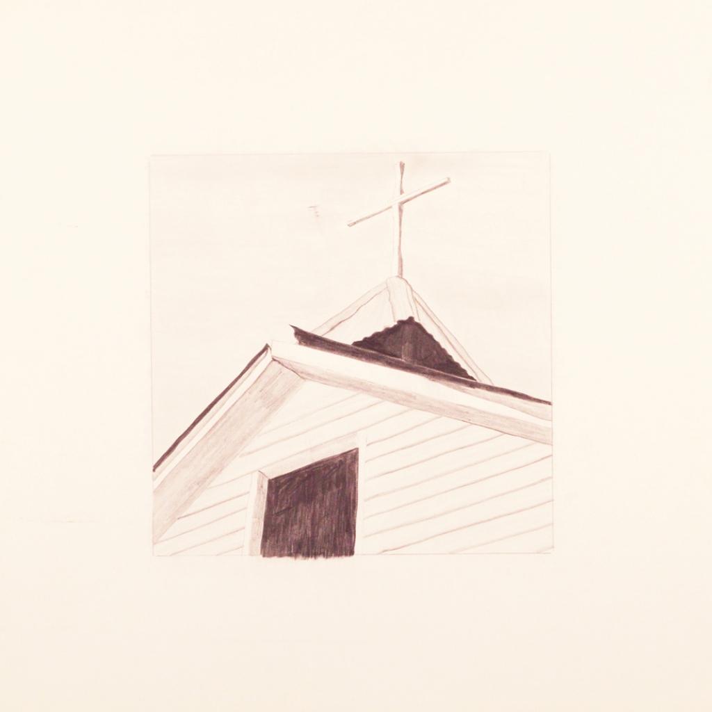 """Study for """"Las sombras y la cruz negra arriba de la capilla de Sangre de Cristo de Cuartalez"""" (etching), (image) 12x12"""" graphite on paper, undated - a preparatory drawing by Harold Joe Waldrum"""