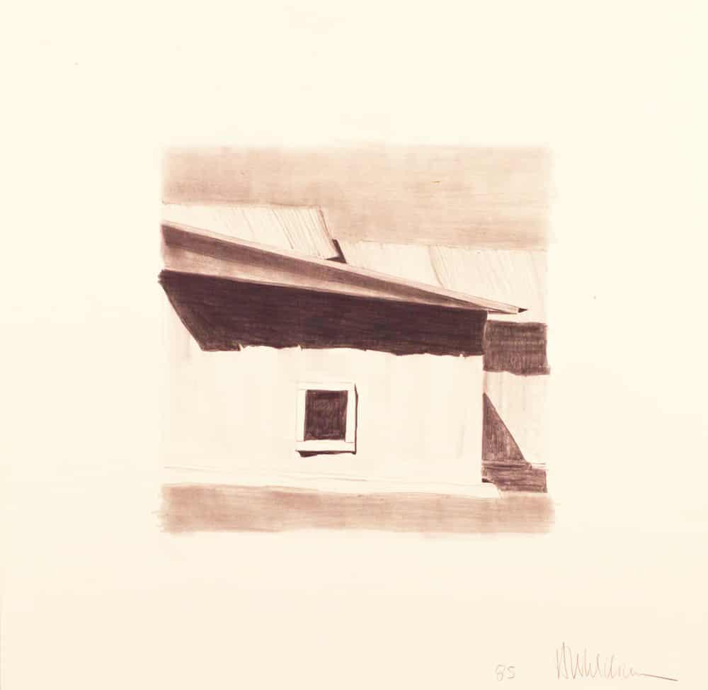 """Study for """"Las sombras hacia el este del vestuario de la iglesia de Santo Tomás Apóstol de Ojo Sarco"""" (etching), (image) 12x12"""" graphite on paper, 1985 - a preparatory drawing by Harold Joe Waldrum"""
