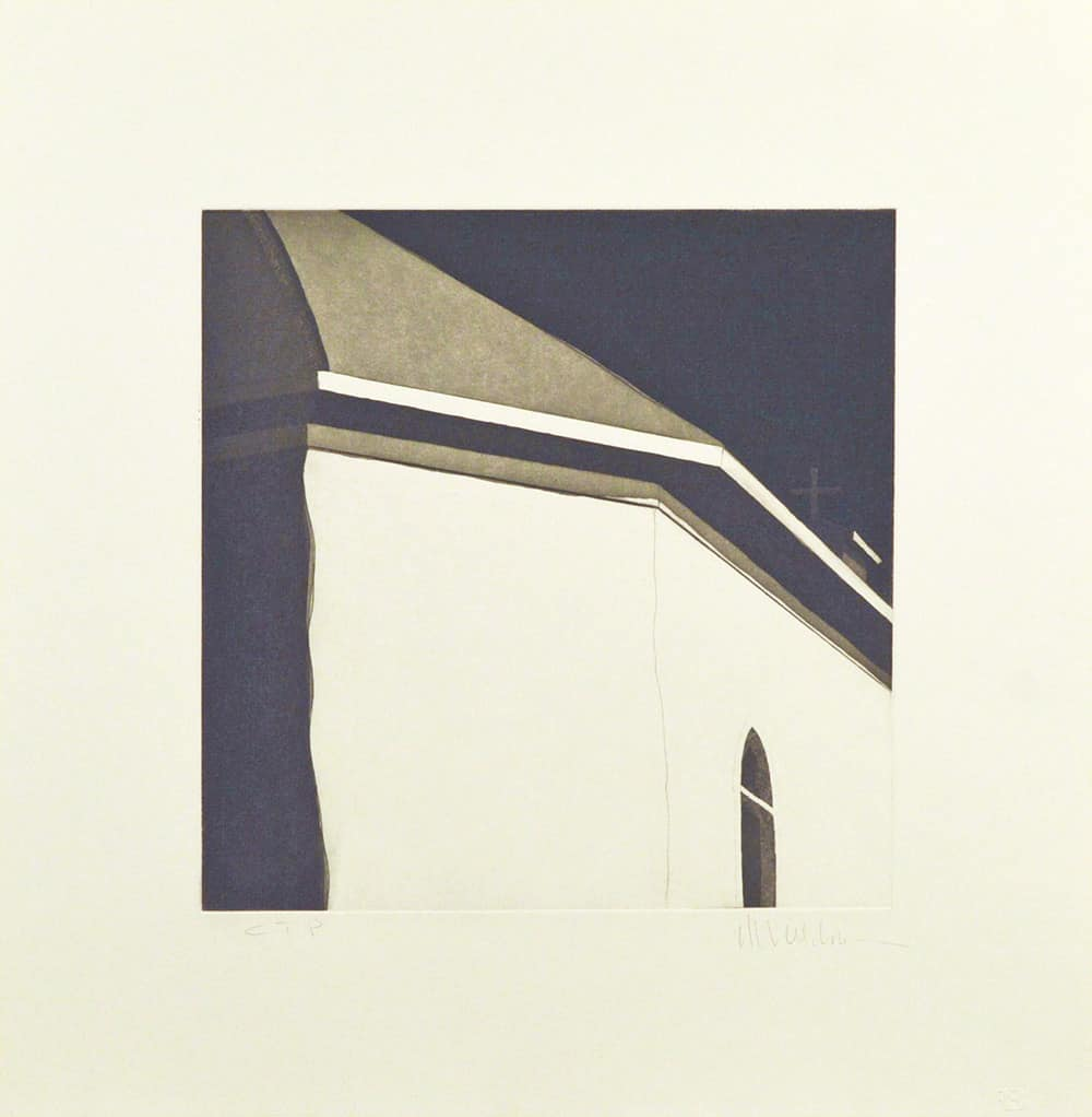 """Color Trial Proof: Las sombras atrás de la iglesia de Nuestra Señora de Dolores de Arroyo Hondo, (image) 12x12"""" aquatint etching, 1984-85 - aquatint etching by Harold Joe Waldrum"""