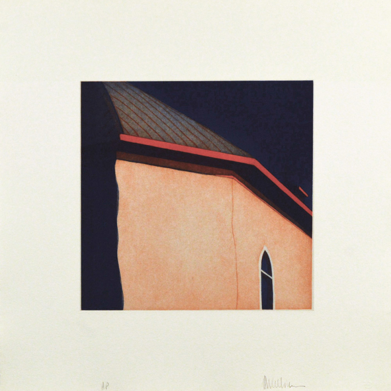 "Las sombras atrás de la iglesia de Nuestra Señora de Dolores de Arroyo Hondo, (image) 12x12"" aquatint etching, 1984-85 - aquatint etching by Harold Joe Waldrum"