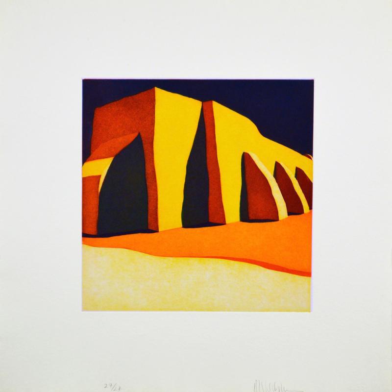 """Second State (con cielo azul cargado): Las sombras de la iglesia del pueblo de San Ildefonso, (image) 12x12"""" aquatint etching, 1984-85 - aquatint etching by Harold Joe Waldrum"""