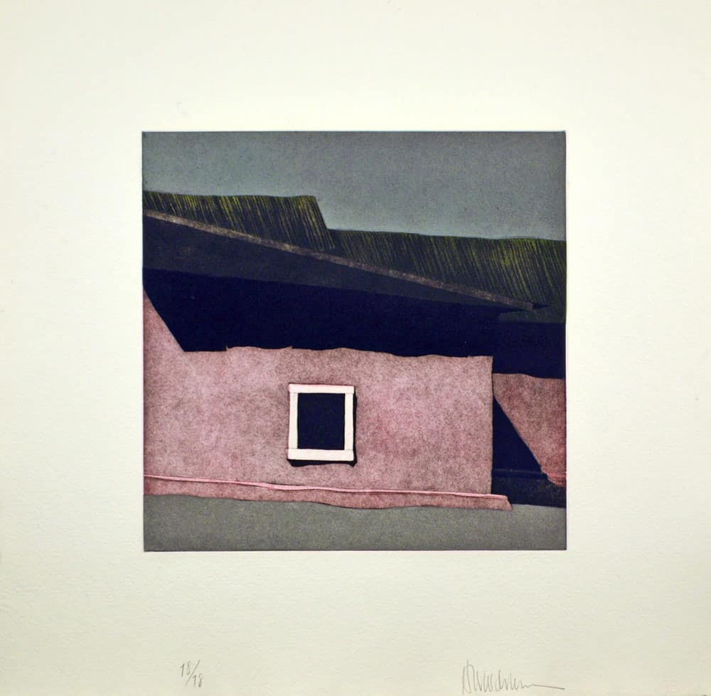 The church at Ojo Sarco New Mexico. Aquatint etching by Harold Joe Waldrum
