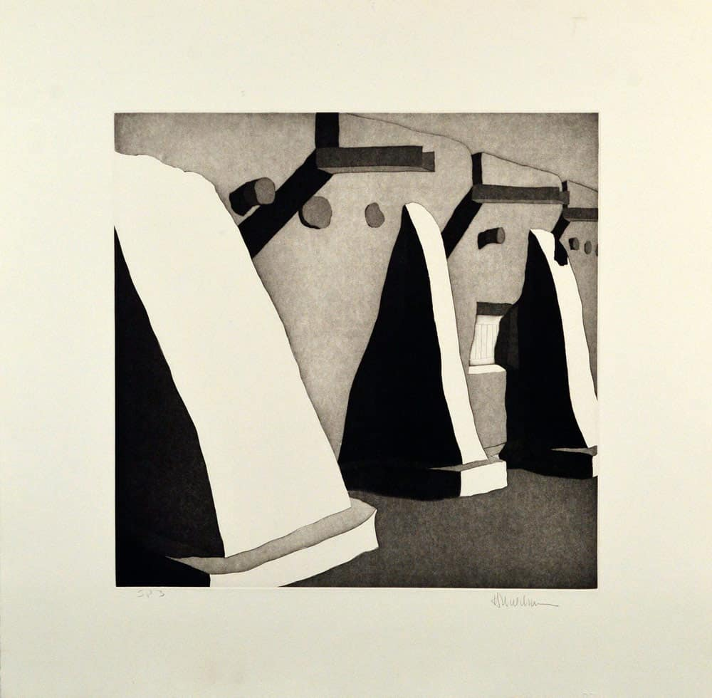 "La morada de Don Fernando de Taos, (image) 17x17"" aquatint etching, 1988 - aquatint etching by Harold Joe Waldrum"