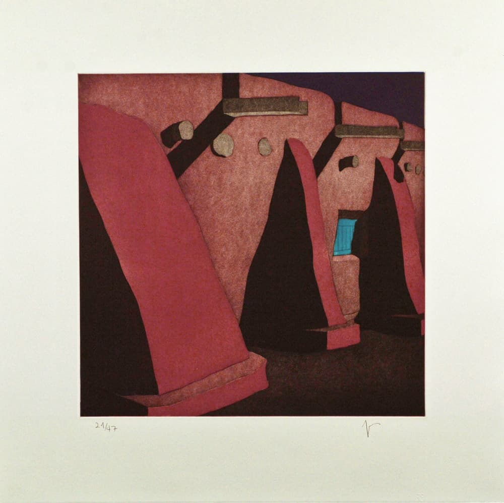 "La morada de Don Fernando de Taos en la noche, (image) 17x17"" aquatint etching, 1988 - aquatint etching by Harold Joe Waldrum"