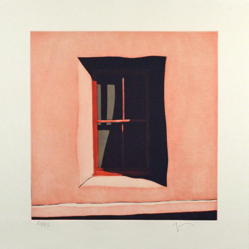 """Third State: La sombra de la ventana hacia el oeste de la capilla de San Antonio de Chacón, (image) 17x17"""" aquatint etching, 1998 - aquatint etching by Harold Joe Waldrum"""