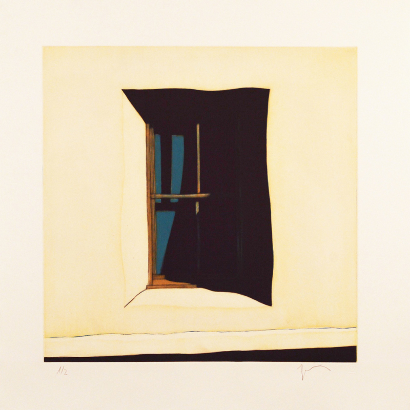 "Fourth State: La sombra de la ventana hacia el oeste de la capilla de San Antonio de Chacón, (image) 17x17"" aquatint etching, 1998 - aquatint etching by Harold Joe Waldrum"