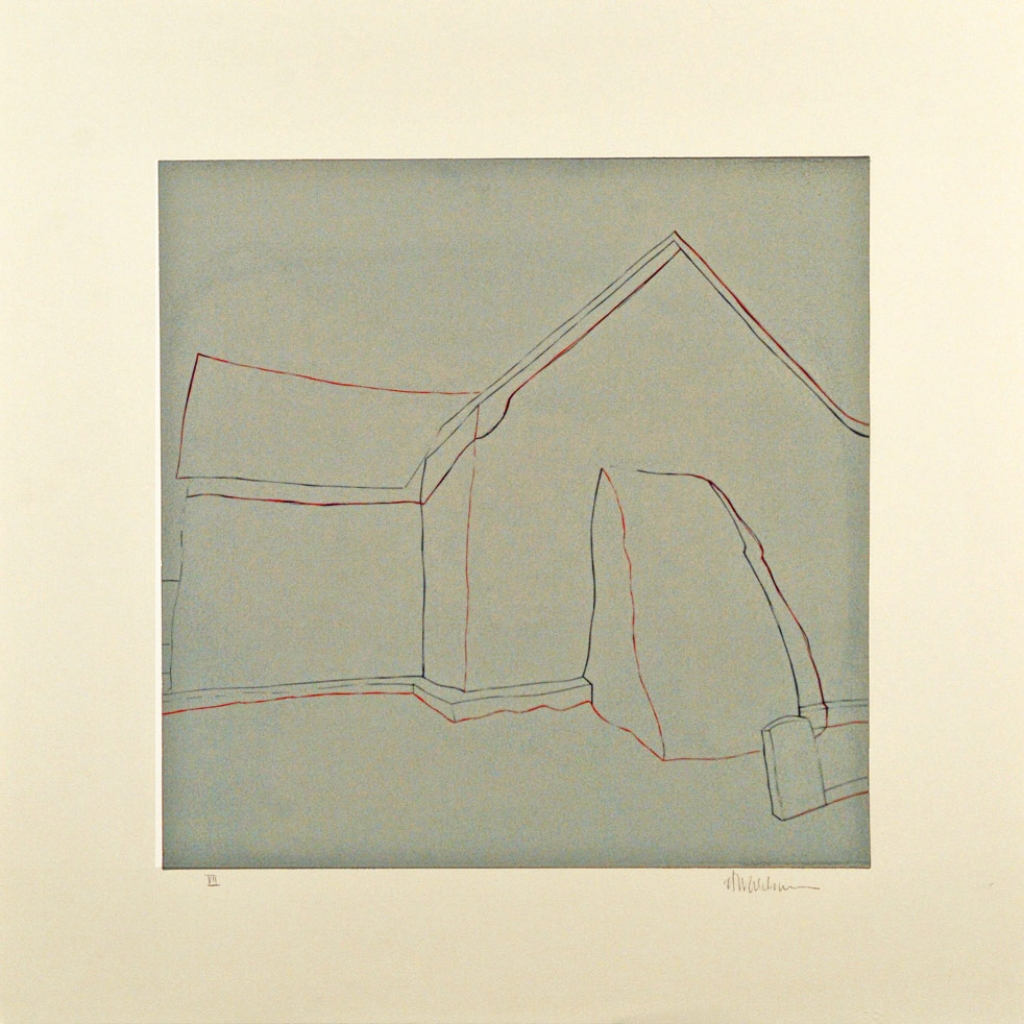 "Third State: La lápida gris, (image) 17x17"" linocut on paper, 1988 - by Harold Joe Waldrum"