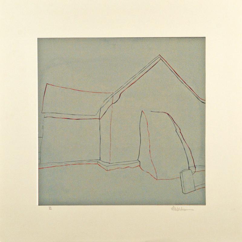 "Third State: La lápida gris, (image) 17x17"" linocut on paper, 1988 - by Harold Joe Waldrum"