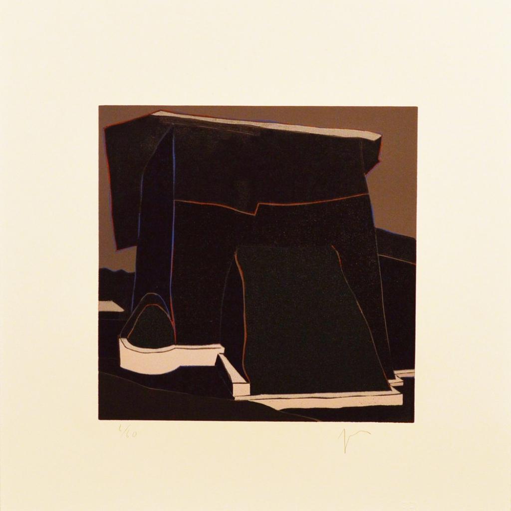 "El contrafuerte grande de la iglesia de Córdova (Insidious Skirt), (image) 9x9"" linocut on paper, 1993 - by Harold Joe Waldrum"