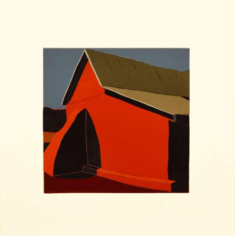 """El contrafuerte grande perdido de la capilla de Chacón, (image) 9x9"""" linocut on paper, 1993 - by Harold Joe Waldrum"""