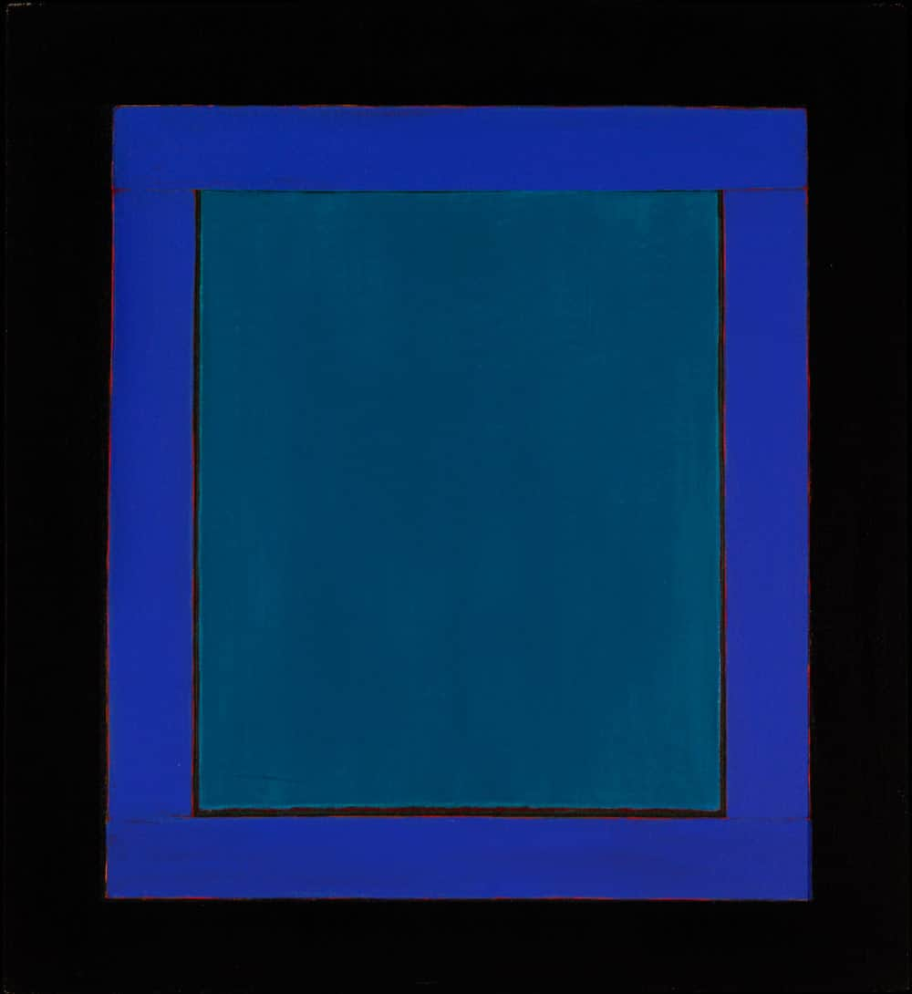 "Azul, azul, azul II, 33x30"" acrylic on linen, 1980 - window series, Harold Joe Waldrum"