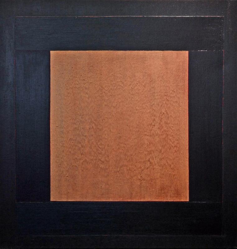 "Para Santuario, 52x50"" acrylic on linen, 1977 - window series, Harold Joe Waldrum"