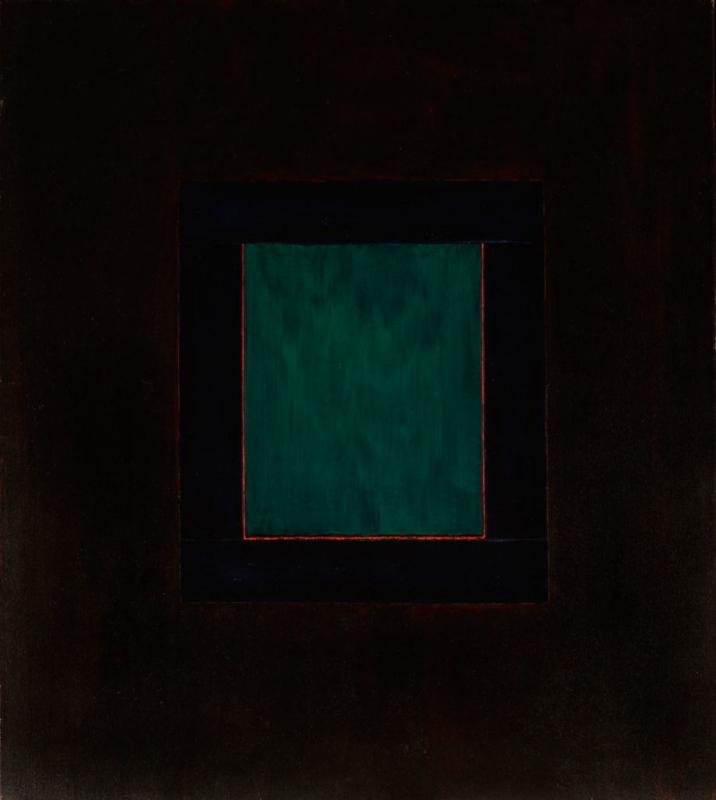 "Una ventana de Taos, 56x50"" acrylic on canvas, 1979 - window series, Harold Joe Waldrum"