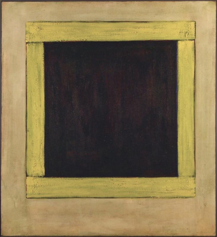 "Vigil, 45x41"" acrylic on canvas, 1977 - window series, Harold Joe Waldrum"
