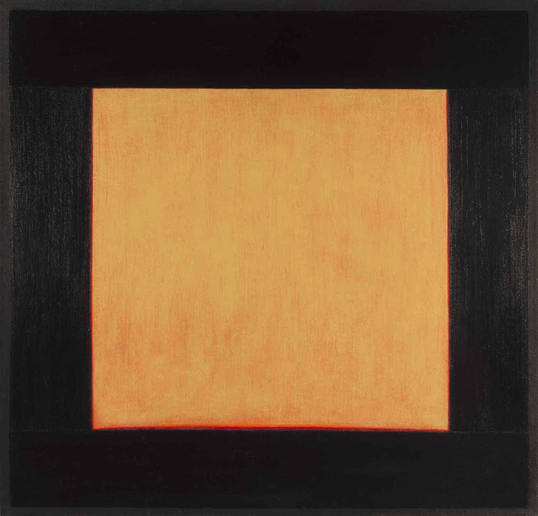 "Estio, 48x50"" acrylic on linen, 1979 - window painting by Harold Joe Waldrum"