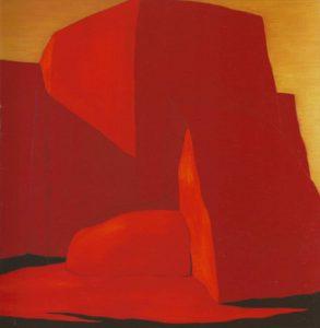 Con cielo oro - a church painting by Harold Joe Waldrum