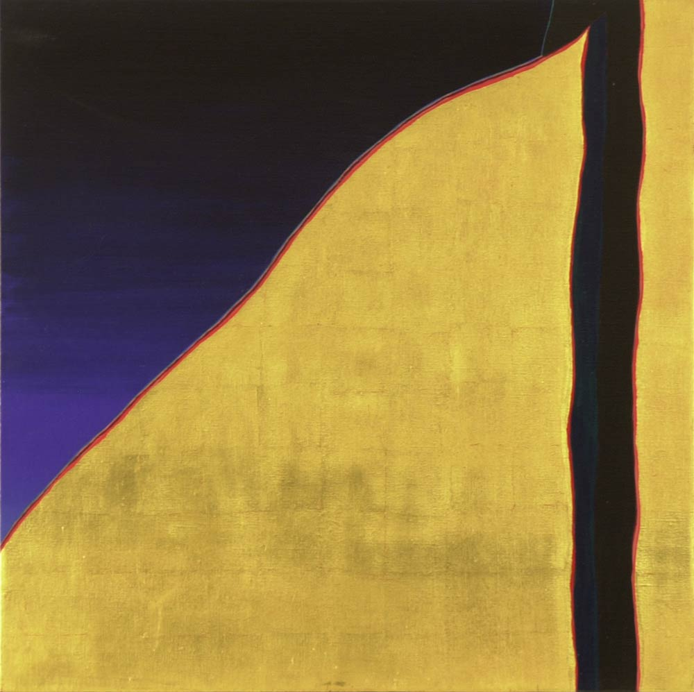 Harold Joe Waldrum church painting - Ranchos de Taos south side - acrylic and gold leaf on linen