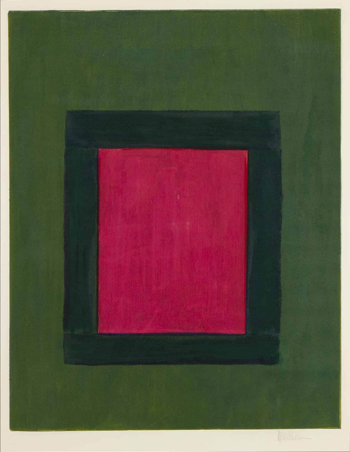 "Harold Joe Waldrum, ""Rose on Green Window,"" ventanas serious, monotype on paper"