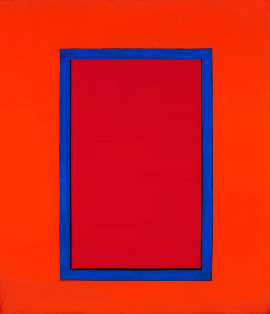 "Marion C, 64x56"" acrylic on canvas window painting, Harold Joe Waldrum, 1979"