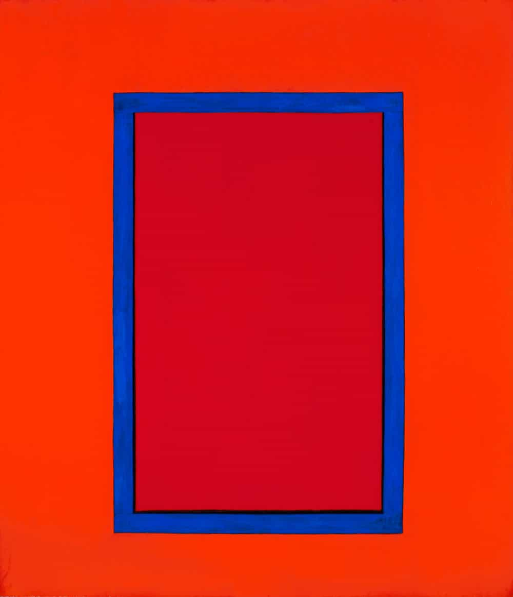 "Marion C, 64x56"" acrylic on canvas window painting, Harold Joe Waldrum, 1979"