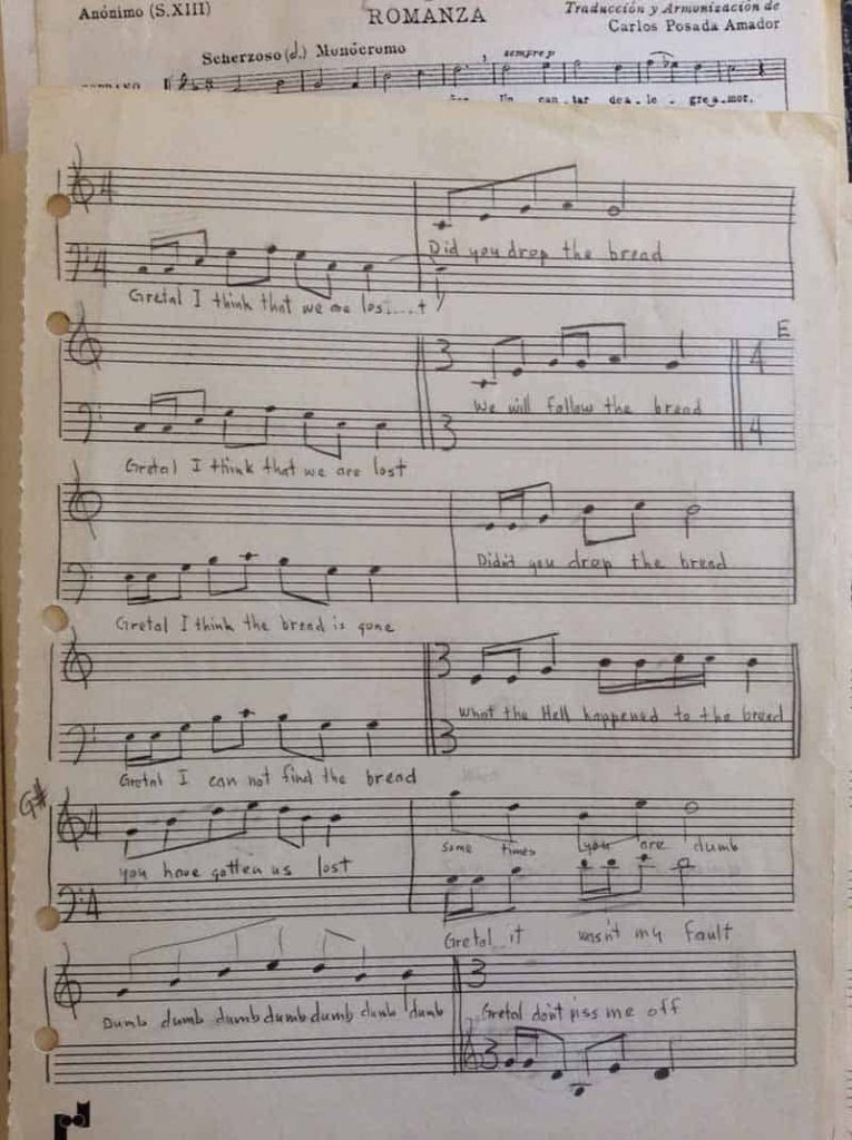 Hansel & Gretel - handwritten music by Harold Joe Waldrum