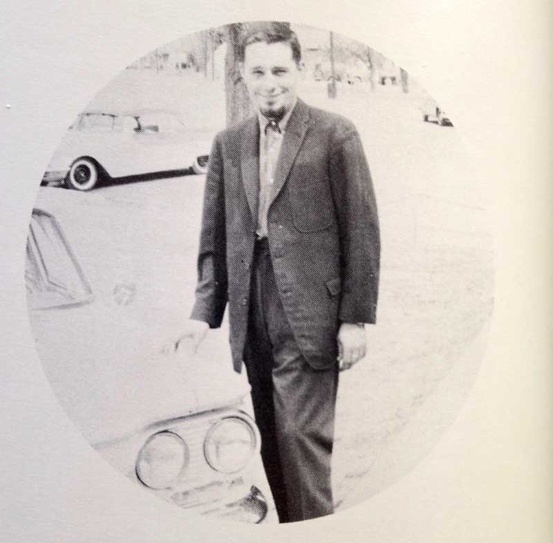 Harold Joe Waldrum and his light blue Peugot in the 1960s