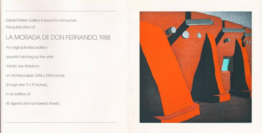 "Gerald Peters Gallery presents ""La Morada de Don Fernando,"" an aquatint etching by Harold Joe Waldrum"